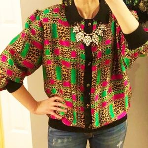 Vintage fab 80s top Gold! Hot pink! Leopard print!